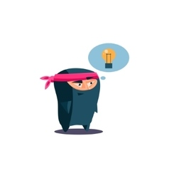 Cute emotional ninja has got an idea vector