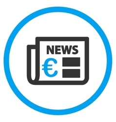 Euro newspaper circled icon vector