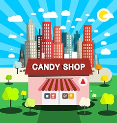 Candy shop flat design with city on backgrou vector