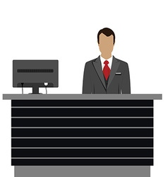 Hotel reception desk vector