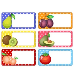Square labels with fresh fruits vector