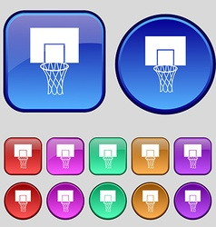 Basketball backboard icon sign A set of twelve vector image vector image
