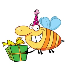 Birthday Bee Wearing A Party Hat And Flying vector image