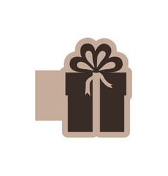 Brown emblem sticker box with bow ribbon icon vector