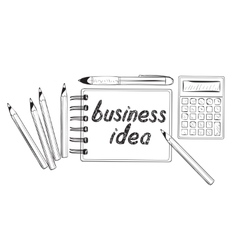 Business doodles icons concept of ideas vector