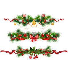 Christmas decoration with spruce tree vector image vector image