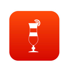 Cocktail icon digital red vector