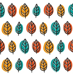 Cute doodle seamless pattern with bright leaves vector