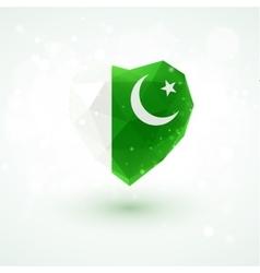 Flag of pakistan in shape diamond glass heart vector