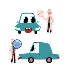 Flat doctor mechanic car with eyes vector
