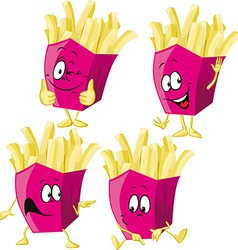 French fries cartoon with hand gesturing isolated vector image vector image