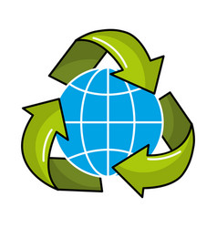 Gobal planet inside of recycling symbol vector