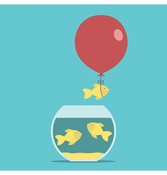 Gold fish balloon fishbowl vector image vector image