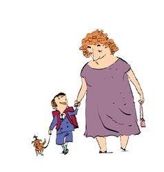 Grandma grandson and dog on a walk vector image