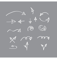 Hand drawn arrow collection on gray background vector
