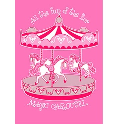 Magic carousel with white horses vector