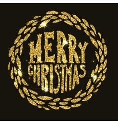 Merry Christmas Hand drawn lettering in golden vector image