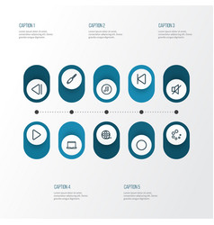 Multimedia outline icons set collection of circle vector