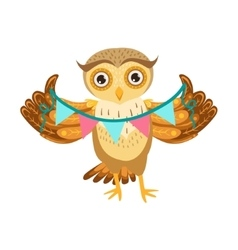 Owl Holding Paper Garland Cute Cartoon Character vector image