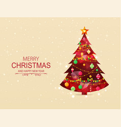 red polygonal christmas tree with decorations vector image