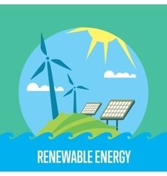Renewable energy sun and wind power generation vector