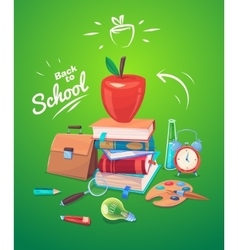 school objects On green vector image vector image
