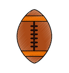 scribble american football ball cartoon vector image
