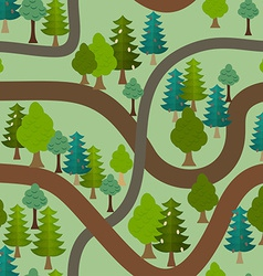 Seamless forest pattern Cartoon trails and trees vector image