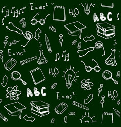 Seamless pattern with school elements back to vector
