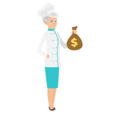 Seinor caucasian chef holding a money bag vector
