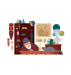 Seller antique shop vector