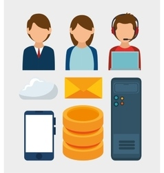 set characets server data media vector image