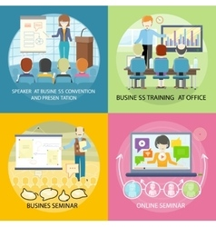Set of Banner Seminar Training Business vector image