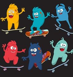 Set of cheerful and colorful cartoon monster who vector image vector image