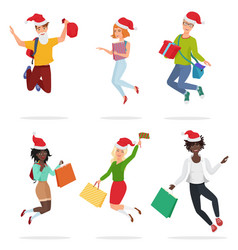 set of cheerful happy people jumping and dancing vector image vector image