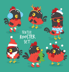 Set of funny cartoon rooster vector
