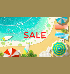 Summer sale announcement on beach vector