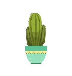 Tall Cactus With Two Branches In Blue Pot vector image
