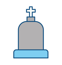 tombstone with cross and religion funeral vector image