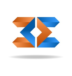 Two letter E - blue and orange business logo icon vector image vector image