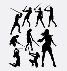 Warrior girl with sword silhouette vector