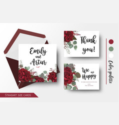 Wedding invite thank you floral cards set vector