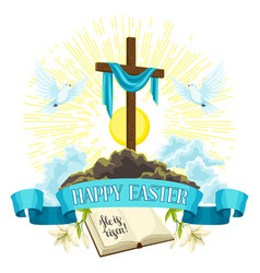 Wooden cross with shroud bible and doves happy vector