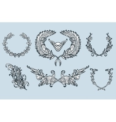 Floral wreath branches set Decorative elements at vector image