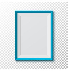Blue blank picture frame on transparent vector image
