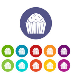 cup cake icons set flat vector image
