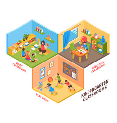 kindergarten indoor isometric vector image