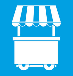 Food trolley with awning icon white vector