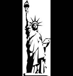Black silhouette of the statue of liberty vector