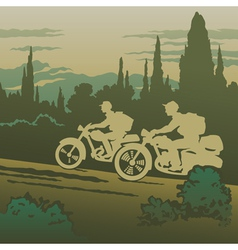 Motorcyclists travelling vector